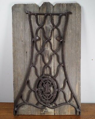 Rustic Decor Singer Cast Iron Sewing Machine Leg On Barn Wood