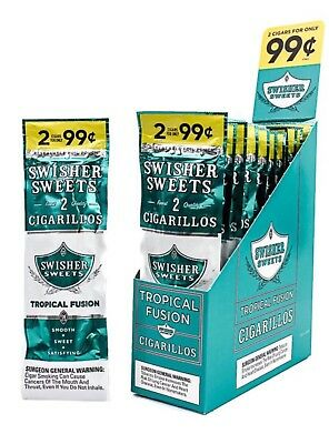 SWISHER SWEETS TROPICAL FUSION FLAVOR BOX 15 Pks 2 In A Pk 30 Pcs TOTAL