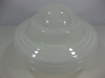 """Vintage White Art Deco Glass Ceiling Light/Lamp Shade 9"""" wide"""