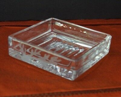 Vintage Heavy Crystal Glass Soap/Trinket/Jewelry Dish Etched Graphic 4.25""