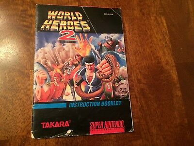 World Heroes 2 Super Nintendo SNES Instruction Manual Booklet ONLY
