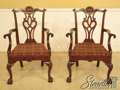43914EC: Pair KITTINGER D2125 Ball and Claw Chippendale Arm Chairs