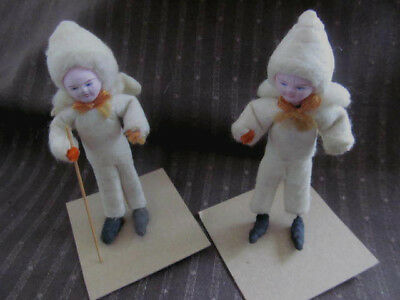 Set of 2~Vintage Antique Christmas Cotton Batting Snow People Skier~Plaster Face