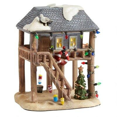 Nautical Coastal Lighted BEACH HOUSE Porcelain Christmas Village House