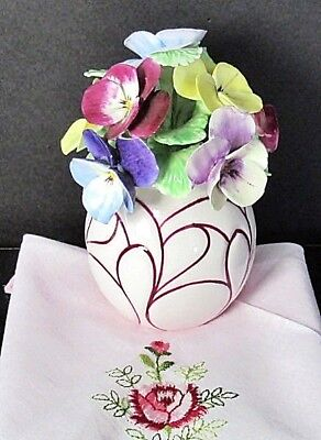 Crown Staffordshire Pansy Vase,Yellow,Blue,Purple Floral Bouquet,Pink Vase