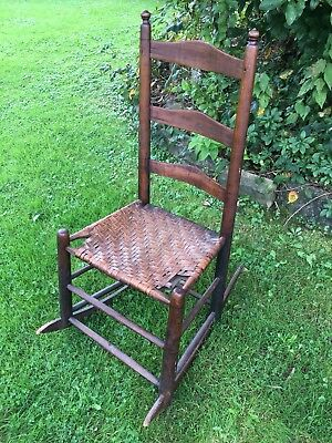 Antique Original Shaker Ladder Back Rocking Chair