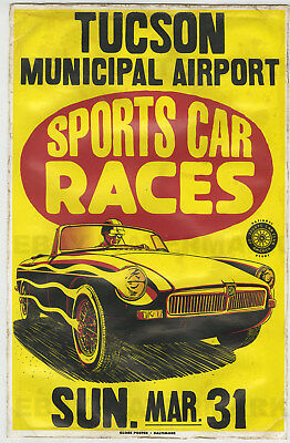 1960's MGB Tucson Race Vintage Advertising Poster 11 x 17  Arizona MG Roadster