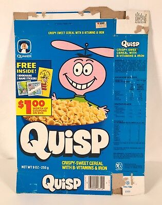 vintage 1982 quaker quisp cereal box retro kids food package jay