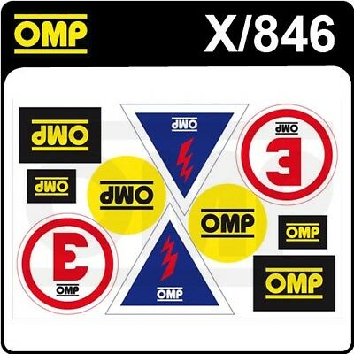 X/846 OMP MOTORSPORT ASSORTED STICKER SHEET for RACE RALLY (10 DECALS)