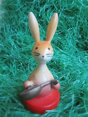 Vintage Rare Goula Spain Wood Easter Bunny Rabbit Playing Mandolyn Figure
