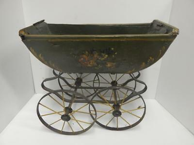 Antique Doll Carriage Wrought Iron/Wood *Planter* Hand Painted Rustic