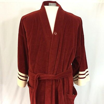 Vintage Christian Dior Mens Velour Mid-Length Robe Red & Cream Colors One Size