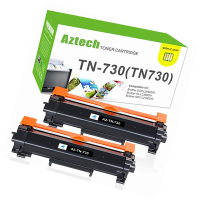 with Chip-Aztech 2PK Compatible for Brother TN760 TN730 HL-L2350dw High Yield To