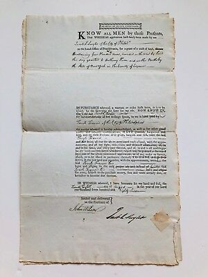 1787  TIMOTHY PICKERING signed land deed US Sec. of State/Postmaster General