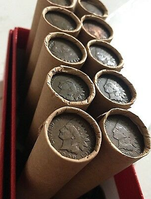 Old Indian Head Penny Wheat Cents Roll Us Coin Collection Sale Estate Rare Dates