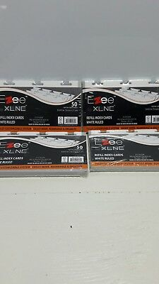 Ezee Index Cards Refill White Ruled 50 Narrow Ruled Sheets Lot of 4 Pkgs