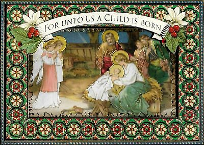 RELIGIOUS EMBELLISHED NATIVITY SCENE CHRISTMAS CARDS by PUNCH STUDIO (4)