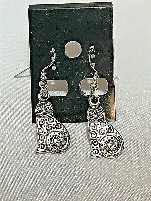 "Antique Silver ""cat Art Deco"" Dangle Earrings"