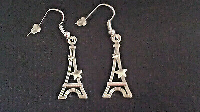 "Antique Silver ""eiffel Tower At Night W/ Stars"" Dangle Earrings Handmade"