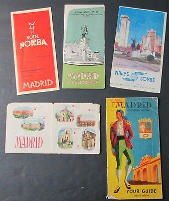 MADRID Guide Book Maps Brochures PULLMAN Tours 5 Pcs Mid Century Travel