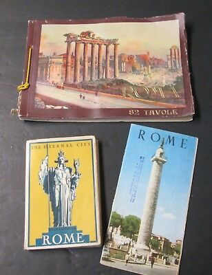 ROME Guide Book Brochures Luggage Stickers 6 Pcs Mid Century Travel Souvenirs