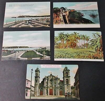 Early CUBA 5 Postcards Havana All Unwritten, Undivided Backs Nice Collection