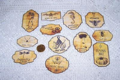 Halloween~Vintage~Potion~Bottle~Label~Linen Cardstock~Sticker~Set of 12