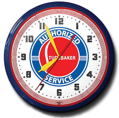 Authorized Studebaker Service Neon Wall Clock 20 Inch Game Room Office Business