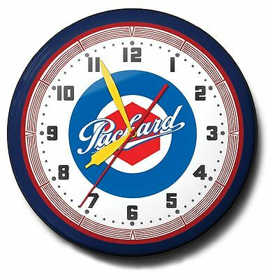 Packard Automobile Logo Neon Wall Clock Game Room Office 20 Inch Diameter