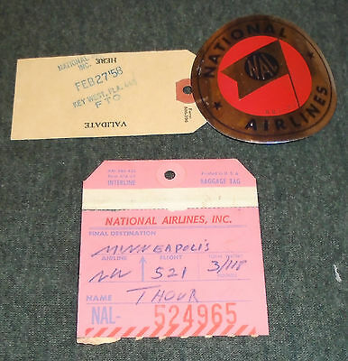 Rare Lot of 2 National Airlines 1950's Baggage Tags - Estate Find