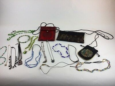 LOT OF VINTAGE-NOW ASIAN Style JEWELRY: Necklace Bags Purses Choker Beads