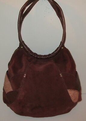 Lucky Brand Brown Suede Slouchy Hobo Tote Shoulder Bag Boho Leather Purse Rust