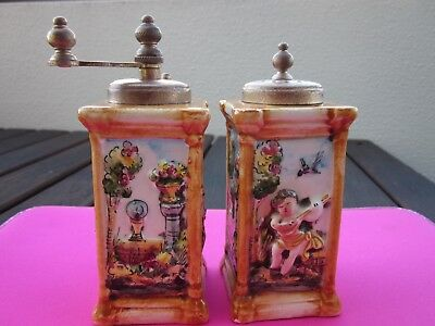 Vintage, Collectible,hand Painted Capodimonte Cherub Salt Shaker&pepper Mill,htf