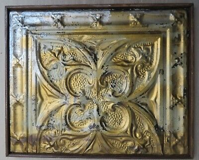 ANTIQUE TIN CEILING TILE RECLAIMED Shabby Chic WALL DECOR PANEL WOOD FRAMED-4