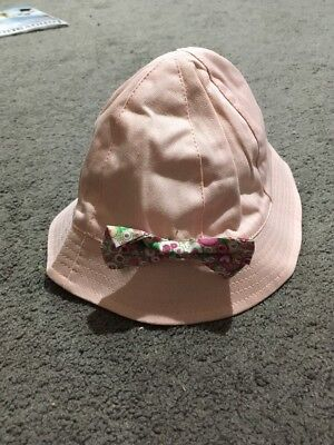 BNWT Baby Girls Pink Reversible Sunhat Pink Size 12+ Months