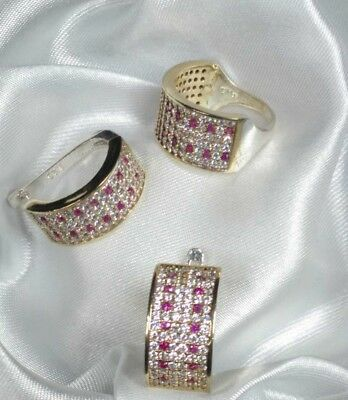 AAA Quality 925 Sterling Silver Jewelry Red Ruby & Cz Earrings & Ring Set