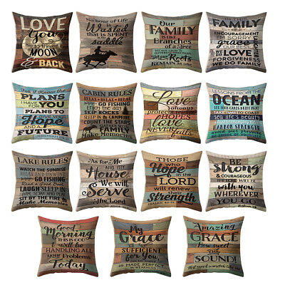 18'' Vintage Letter Throw Pillow Case Cushion Cover Sofa Home Office Decor Sight