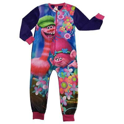 Girls Fleece Character Sleep Suit Pyjamas Pjs Size Trolls Sizes 4 to 10 years