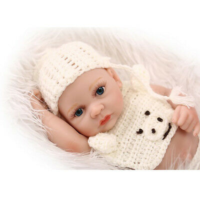 """Unpainted Lifelike 10"""" Reborn Baby Boy Doll Blank Mold Open Eyes and Mouth"""