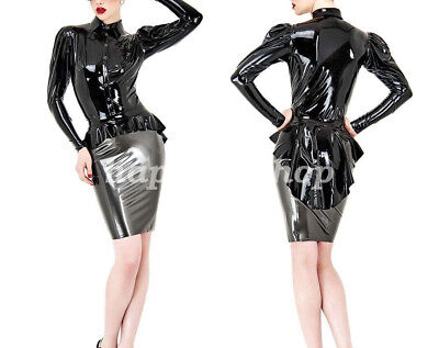 Latex Uniform Rubber Gummi Women Black Lace New Shirt Mini Skirt Suit Size S-XXL