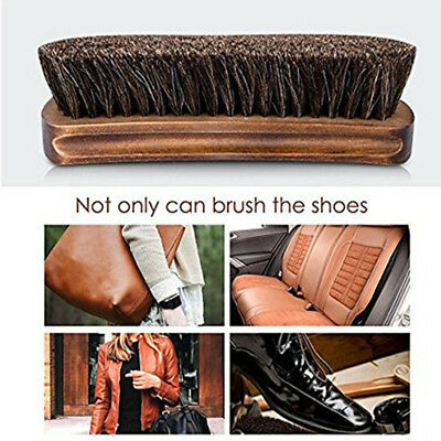 2X Wooden Practical Horse Hair Shoe Shine Polish Buffing Brush Cleaner AU Stock