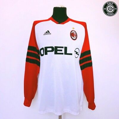 AC MILAN Vintage Retro Adidas Football Training Shirt 1998/99 (L) Weah Maldini