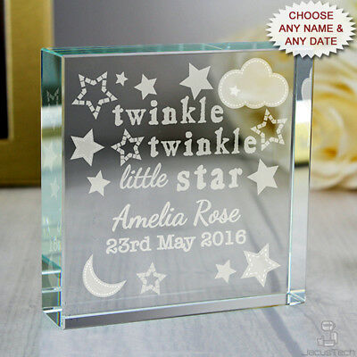 PERSONALISED New Baby Gift. Crystal Token. In Gift Box. Christening Gift Present