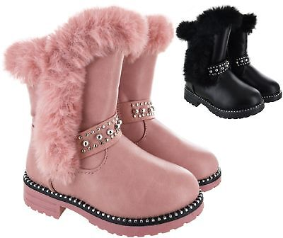 Kids Infants Children Girls Faux Fur Lined Warm Winter Zip Up Studded Boots Size