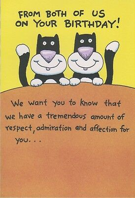 Funny From Both of Us on Your Birthday BLACK & WHITE CATS Card