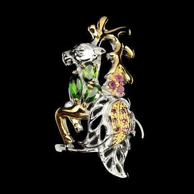 Marquie Chrome Diopside Garnet Ruby 925 Sterling Silver Deer Ring Size 7.5