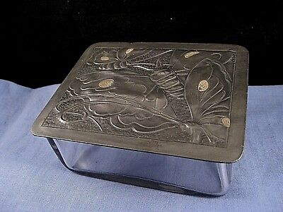 Arts & Crafts Antique Butterfly Bug Insect Pewter Glass Trinket Box Butter Dish