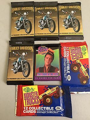 7 Pack Lot 1992 Harley Davidson Cards Series 2 + 1992 Elvis +1990 Monster Trucks