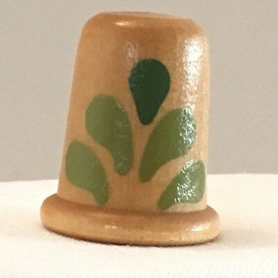 """Collectible Thimble, Wooden, with Green """"Fan"""" Design on Both Sides, Flat Top"""