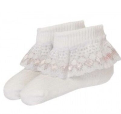 3 pairs of baby girls lace ankle turn over socks pink 0-2.5